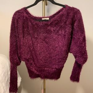 For love and lemons purple fur sweater size small